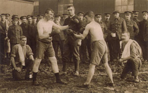 Soldiers of the 6th Battalion the Yorkshire Regiment, - date unknown (early 1915?), - Boxing Tournament.