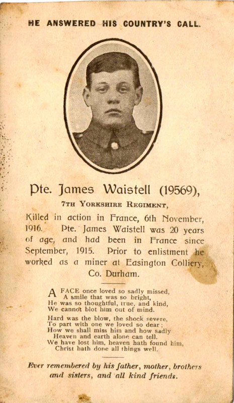 Private James WAISTELL, 19569. 7th Battalion the Yorkshire Regiment.