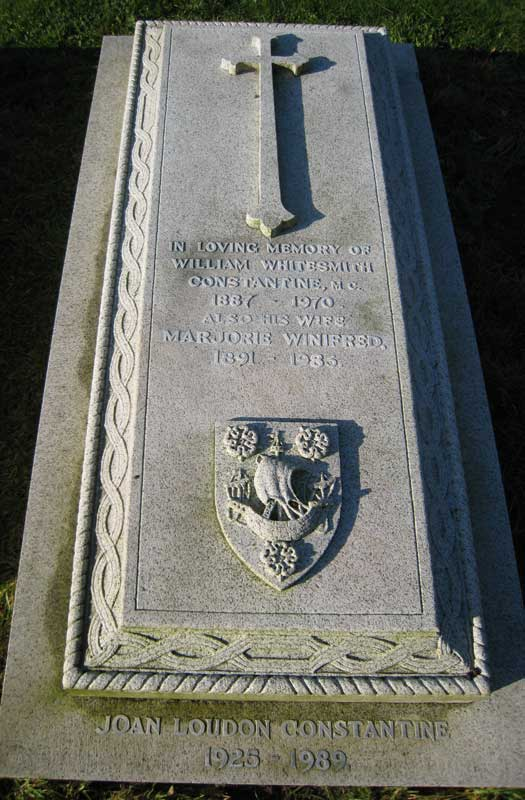 Major W W Constantine's grave in the Churchyard of St. Oswald's, East Harlsey.