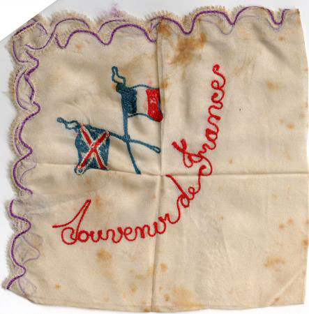 Embroidered handkerchiefs were sent as gifts and this one was sent to his family.