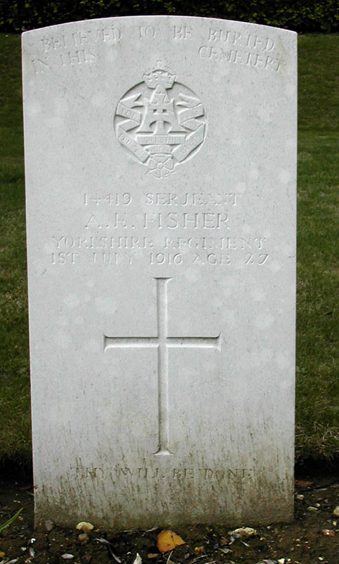 The Headstone for Serjeant Albert Edward Fisher in the Fricourt British Cemetery.
