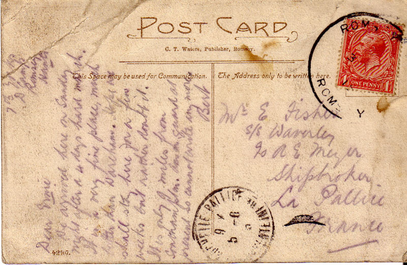 A postcard written by Serjeant Fisher while in camp at Romsey, Hants (1915) - 1