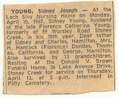 death notice for Private Sidney Joseph Young
