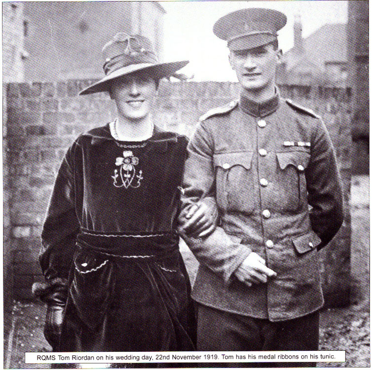 Thmas Riordan, by now Regimental Quarter Master Sergeant, was married in November 1919.