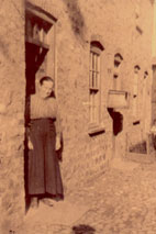 Margaret Watson, - William's mother, outside the house in Albert Row, Bedale