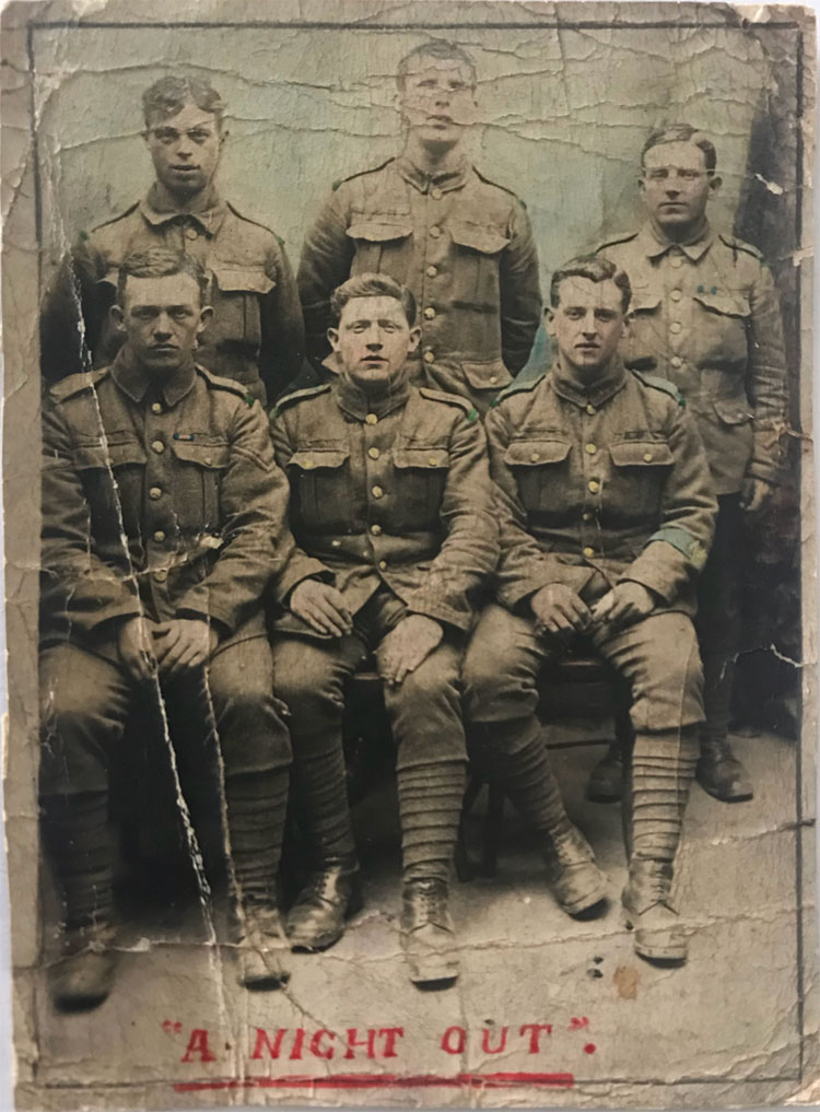 A photo showing 6 soldiers (of the Yorkshire Regiment?), with Private Hood seated lower right