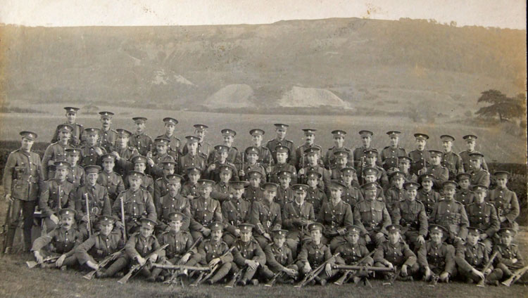 William Stockdale, - 5th from the right in the 3rd row from the front, with a group of soldiers from the Yorkshire Regiment, West Yorkshire Regiment, and Grenadiers. The two instruments in the foreground are range finders. Clearly, this group of men will have been on a course in using range finders.