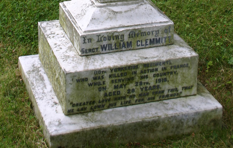 The Memorial Cross to Sergeant William Clemmitt of the 10th Yorkshires, Ugthorpe Churchyard